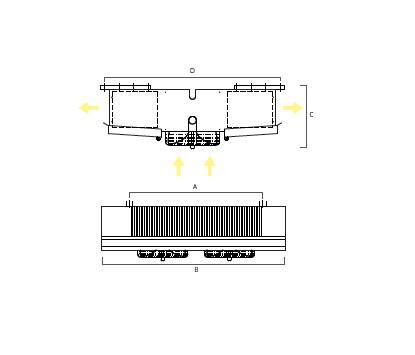 Evaporadores De Techo Comerciales Doble Boca  TCR - Planos