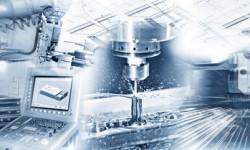 Produktion mit CNC-Maschine, Bohren und Schweißen und Konstruktionszeichnung im Industriebetrieb.
